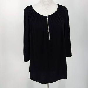 Chicos Size 2 Large Blouse Black 3/4 Sleeve Zip